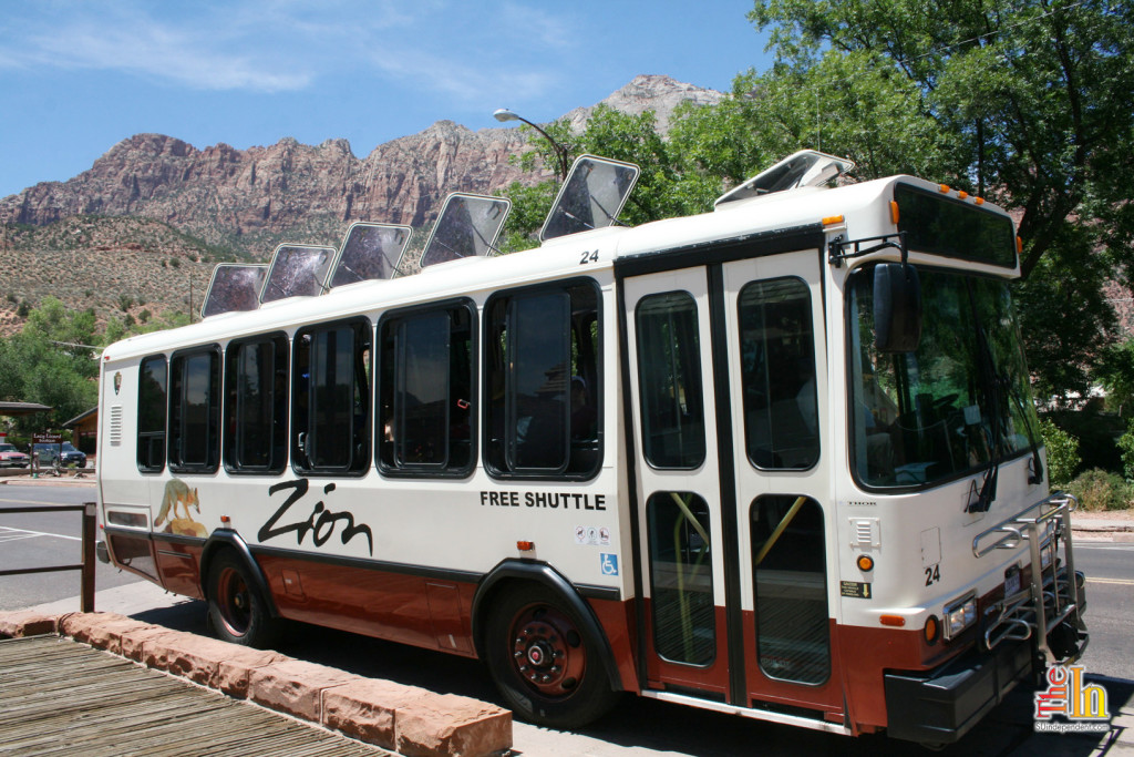 The Zion shuttle runs through Zion Canyon and Springdale through the spring, summer and fall months