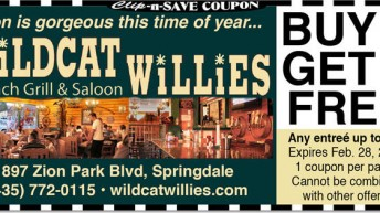 Springdale Utah Dining Coupon: Wildcat Willies Restaurant